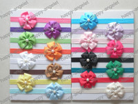 Hair Bows baby glue - Baby grosgrain ribbon five petal pearl flower bowknot glued to Iridescent headbands shimmery soft stretchy Elastic hair head