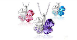Wholesale silver tone rhinestone gemstone necklace clovers crystal necklace assorted