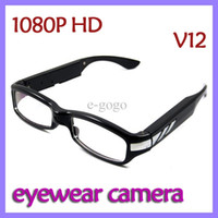 None No V12 1920x1080P HD Camera eyewear 5 Mega Pixels pinhole COMS glasses camera Digtal video Spy glasses eyewear hidden camera V12