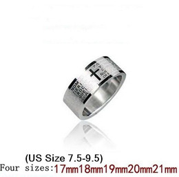 Wholesale 100Pcs Wide Laser Engraved Cross Bible Stainless Steel Rings For Men Men s Rings low price C0771