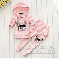 Girl baby boys winter clothes sale - HOT SALE Winter Autumn Baby boys girls clothing sets cotton cartoon sports sets girls jacket pant