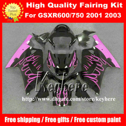 Free 7 gifts custom race fairing kit for SUZUKI GSXR600 01 02 03 GSX R600 R750 2001 2002 2003 GSXR 600 750 K1 fairings G5u pink flames black