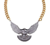 Wholesale charming Vintage Silver Chain Jewelry Eagle Adorned Pendant Necklace