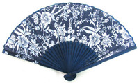 Wholesale 80pcs Popular BATIK HAND FAN Folding Pocket Purse Mum Cherry Blossom Bamboo Fabric Blue White