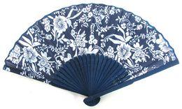 80pcs Popular BATIK HAND FAN Folding Pocket Purse Mum Cherry Blossom Bamboo Fabric Blue White