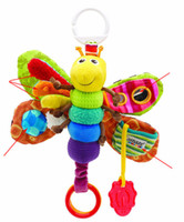 Wholesale Musical Baby Inchworm Plush toy toddler Infant kids toys Fly Honey Bee Toys Lamaze Wrist Rattles