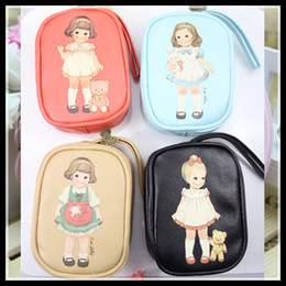 Wholesale Retro Girls Paper Doll Mate Zipper Wallet Key Bag Lovely Doll Cosmetic PU Make Up Pouch Cell Phone Bag Good Quality hot selling best gifts