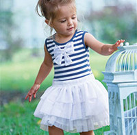 Wholesale Kids Clothing Layered Dress Children Blue Stripe Dresses Baby Summer Dress Jumper Skirt Fashion Bowknot Princess Dress Girls Cute Dresses