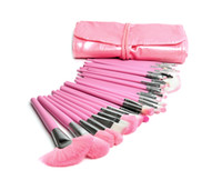 Wholesale 2014 Hot Top Quality Professional Pro Pink Goat Hair Makeup Brush Set Cosmetic Make Up Brushes Kit Facial Tools With Bag H1053E
