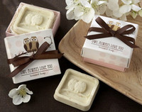 Wholesale lastest fashion Owl Always Love You in the Nest Scented Soap with bowknot for wedding festival party Decoration