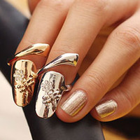 flower nail - Fashion Nail Ring Shiny Animal Flower Rhinestone Fingernail Ring High Quality Metal Rings For Women Gold and Silver Gifts C0798