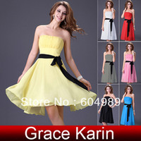 Wholesale GK Short Strapless Sweet Chiffon Bridesmaid Party Evening Cocktail Dress Black Grey White Red Pink Yellow Blue CL4096