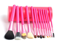 Goat Hair lighted cup holder - 13pcs Professional Light Red Brand Makeup Cosmetic Brush Cylinder Case Cup Holder H1121C