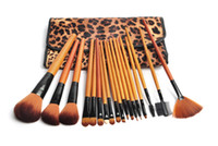 Wholesale Professional Pro leopard print luxurious high quality Make Up Makeup Brush Set Cosmetic Makeup Brushes Kit With Bag H1147X