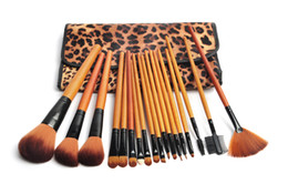 Wholesale Hot Sale Professional Pro Leopard Print Luxurious Wool Makeup Brush Set Cosmetic Makeup Brushes Kit Toiletry Tools With Bag H1147X