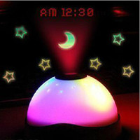 Wholesale Digital LCD Alarm Clock Time Projection Projector Fashion Colorful LED display Flash Light Nightlight Gift DHL