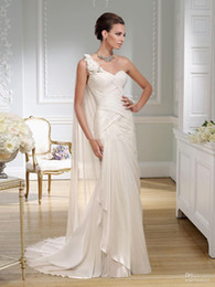 Wholesale 2016 New Custom Made Greek Nymph Ivory One Shoulder Chiffon Wedding Bridal Dresses Pleated Handmade Flowers Gowns