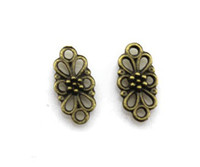 Charms antique brass findings - antique brass metal alloy flower jewelry finding bracelet earring necklace keychain pendant DIY material