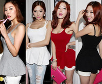 Wholesale 2013 Newest Korean Fashion Womens Open Back Peplum Double Spaghetti Strap Cotton Sexy Summer Tank Tops Cami D0019 Size S XL