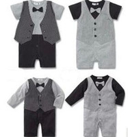 Summer Toddlers Baby Boys Striped Bowtie Gentleman One- piece...