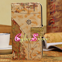 Leather For Samsung  50pcs World Map Folio PU Wallet Flip Leather Case Cover With Credit Card Slots Slot Stand For Samsung Galaxy Mega 6.3 i9200