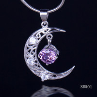 Asian & East Indian amethyst moon - Sterling Silver Pendant For Necklace x20mm Amethyst Cute Moon Dangle Fashion Women Girl Lady Fit Jewelry DIY Making SD501