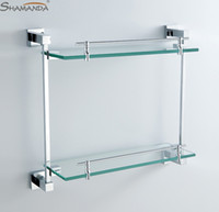 bathroom shelve - Double Bathroom Shelf Glass Shelf Brass Made with Chrome Finish Base Glass Shelves Bathroom Accessories