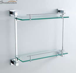 Wholesale Double Bathroom Shelf Glass Shelf Brass Made with Chrome Finish Base Glass Shelves Bathroom Accessories