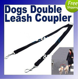 Wholesale Two Way Double Leash Coupler Walk Dogs Lead nylon swivel snap Black