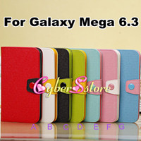Leather For Samsung  20pcs Luxury Wallet Folio PU Candy Contrasting Color Cross Leather Case & TPU inner Case Cover For Samsung Galaxy Mega 6.3 i9200