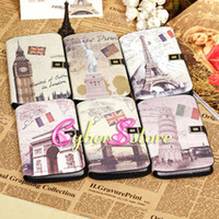 Leather For Samsung  20pcs Retro Vintage Famous British Building PU Wallet Flip Leather Case Cover With Credit Card Slots Slot For Samsung Galaxy Mega 6.3 i9200