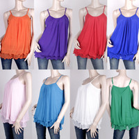 Wholesale Colors WOMEN Ruffles Spaghetti Strap Camisole Tank Top A0014 Size S M L XL