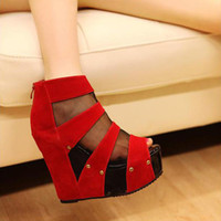 Women Wedge PU Women's sandals PU Wedge heel fish mouth Super high heels Hollow out Zipper rivet Net yarn sandals