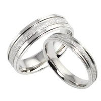Wholesale WHITE STAINLESS STEEL WEDDING RING DULL POLISH FINGER BAND LOVER S GIFT QUICK US SIZE FOR MAN FOR WOMAN