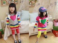 Summer Long Sleeve TuTu Baby clothing Korean design rainbow striped T-shirt and hoodies 2pcs set the girls dress #9522