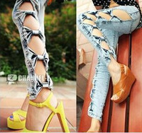 Wholesale 2013 Fashion Womens Vintage Detailed Side Bow Cutout Ripped Denim Sexy Jeans Trousers Classical D