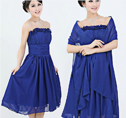 New Fashion Elegent Strapless Chiffon Hand Made Flower Ruffle A-Line Knee Length Mother of the Bride Dresses with a Wraps