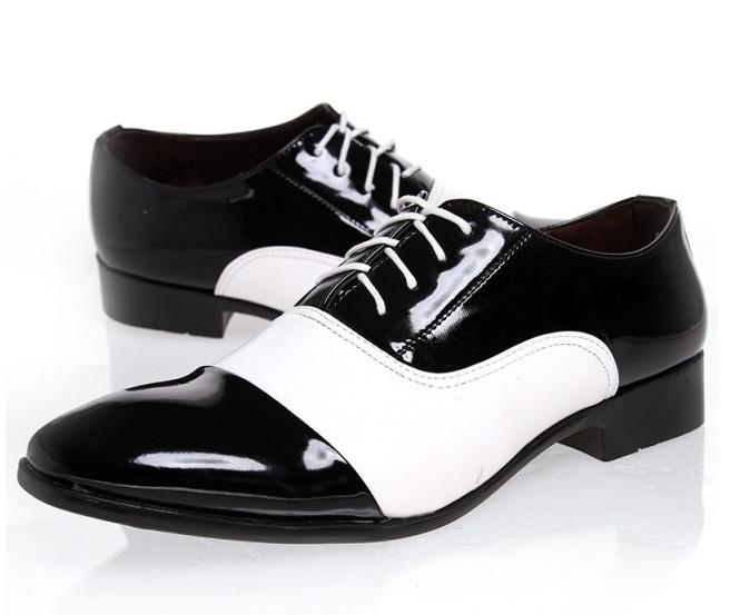 Mens leather black and white dress shoes