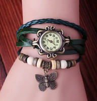Wholesale Cheap price hand made retro Watch Genuine Cow leather wrist watches with no logo ladies fashion butterfly beads gift watch