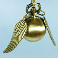 Wholesale 10PCS Wholesal Golden Snitch Pocket Watch Harry Potter Retro Golden Snitch Pocket Watch Necklace