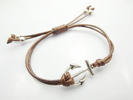 Wholesale Fashion jewelry anchor charm wax cord bracelet bijouterie for women