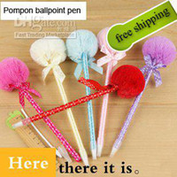 Wholesale Ball Pen Back to School Plush Pen Bow plush ball pen Black Refill Ballpen promotion gi