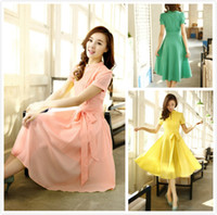 Wholesale summer new ladies dress beach Dress women s Skirt chiffon short sleeve Dresses