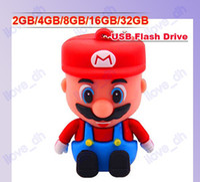 Wholesale 2GB GB GB GB GB Cartoon D Mario USB Flash Memory Pen Drive Sticks Thumb Drives Disks Discs Pendrives Thumbdrives