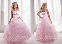 al por mayor little girl princess dresses-Sexy Pink spaghetti straps Tulle desfile Vestidos Cristales Capas princesa Pequeña flor de la muchacha del vestido de TF 13328