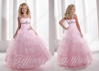 Wholesale Sexy Pink Spaghetti Straps Tulle Pageant Dresses Crystals Layered Princess Little Flower Girl Gown TF