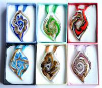 Wholesale unique twisted leaf shape pendant necklace handmade lampwork glass jewelry box packing