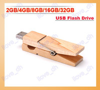 Wholesale 2GB GB GB GB GB Wood Clamps Shape USB Flash Memory Pen Drive Sticks Thumb Drives Disks Pendrives Thumbdrives