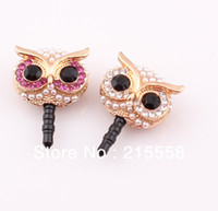 Wholesale For iphone Cellphone Charms Mix Style Rhinestone Crystal Anti Dust Proof Plug Ear Cap Jack Stopper