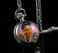 Wholesale Elvis Presley Women Ladies Gril Pocket Watch Necklace Fashion